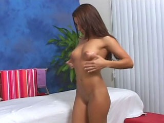 Brunette babe has her shaved snatch fucked by a fat dick