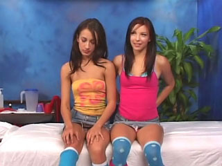 Two hot sexy brunette teens sucking gumshoe and getting gaped