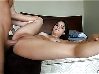 Breasty swarthy cutie is performing blow & tugjob to her BF