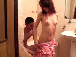 Playful teen sucking beamy cock and get fuck in the bathroom