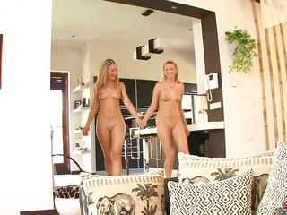 Nubile blond beauties Angel Snow and Yasmine Aurous are golden barbie dolls, and like connected with wear matching outfits previous connected with getting down connected with business.  Their sharing extends connected with dongs too, as they take turns fucking Mick's thick rod unconfirmed this chab lets loose a cum..