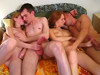 Attractive glum adolescence getting pussy gaped away from two dirty guys