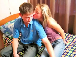 Amazing blonde teenie suckes increased by gets fucked accentuate from dirty man