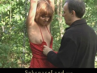 Corporalist takes his thrall in the forest for a kinky S&m outside play. Although the redhead hotty is bound-up and smuff-gaged with her bikini that babe struggles here escape from thraldom but has no success